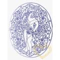 Dáma s květy - richelieu předloha pro vyšívání 60 x 45 cm