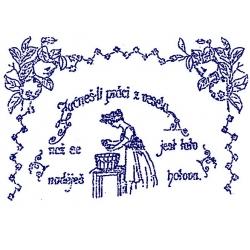 Nástěnná textilní kuchařka - Začneš-li práci z vesela