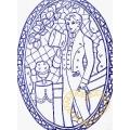 Džentlmen s kloboukem - richelieu předloha pro vyšívání 60 x 45 cm
