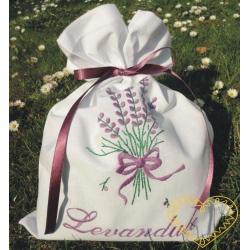 Sáček na bylinky levandule - předloha pro vyšívání - dárkové balení