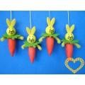 Zajíc s mrkví závěs - 4 ks (skládačka)