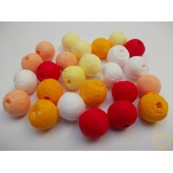 Vatové kuličky ø 15 mm žluto-červený mix - 25 ks