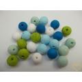 Vatové kuličky ø 15 mm modro-zelený mix - 25 ks