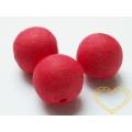 Červené vatové kuličky ø 22 mm -díra skrz - sada 50 ks