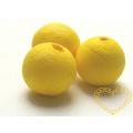 Žluté vatové kuličky ø 22 mm -díra skrz - sada 50 ks