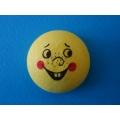 Žlutý vatový piškot  ø 3,2 cm s tiskem - úsměv