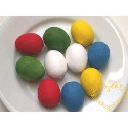 Barevná vatová vajíčka 29 x 38 mm - sada 10 kusů