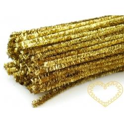 Modelovací chlupatý drátek zlatý silnější - 100 ks