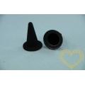 Černý špičatý semišovaný klobouk 50 / 20 mm