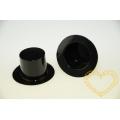 Černý lesklý cylindr 3 x 2,5 cm - plastový klobouček 10 ks