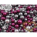 Skleněné voskované perly Ø 4-12 mm 100 g - barevná sada 12