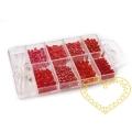Červený rokajl s komponenty v plastovém boxu - mix