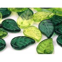Zelené lístečky - plastové korálky - 5 x 10 mm - 100 g