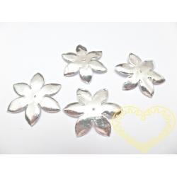 Stříbrné kytičky 4 cm - papírové 10 ks