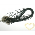 Šňůrka na krk bavlněná voskovaná s karabinkou černá - délka 45 cm