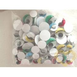 Pohyblivé oči s víčky a řasami - různé velikosti a barvy - cca 230 kusů