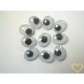 Pohyblivé oči oválné - výška 12 mm - velké balení 100 kusů