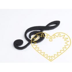 Černý houslový klíč z plsti - 10 cm