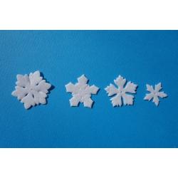 Sněhová vločka z bílé plsti - 40 ks