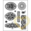 Gelová razítka - krajky s kytičkami (14 x 18 cm)