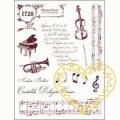 Gelová razítka - housle, klavír, trubka, noty, texty (14 x 18 cm)