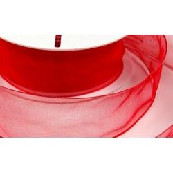 Stuha červená organza s drátem v kraji - šíře 40 mm - 25 m