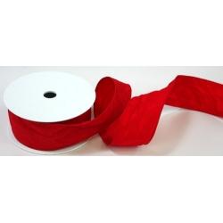 Stuha  červená s drátem v kraji - šíře 30 mm - 10 m