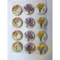 Ozdobné nalepovací knoflíky vzor květiny - 12 ks