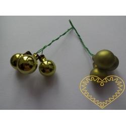 Zelené skleněné kuličky na drátcích - mat či lesk 3 ks