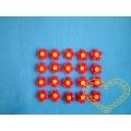 Malé červené kytičky se žlutým středem - sada 20 ks