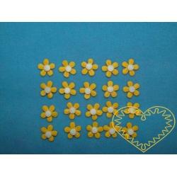 Malé žluté kytičky s bílým středem - sada 20 ks