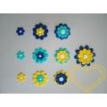 Modrožluté kytky mix 10 kusů