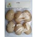 Béžová žíhaná plastová vajíčka výška 10 cm - 6 ks