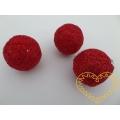 Červená koule sisal s glitry - průměr 4 cm