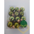Skleněné závěsné koule zelený mix - 24 ks