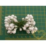 Akce 6 velké květinové pestíky bílá perleť 8-10 mm - 50 ks