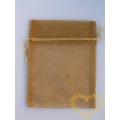 Dárkový sáček organzový zlatý s glitry - 13 x 10 cm