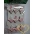 Růžoví a bílí ptáčci kolíčky - 9 ks