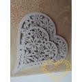 Papírové srdce s kytičkami - výsek 12 ks