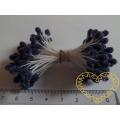 Tmavě modré květinové pestíky chomáčky - 72 hlaviček