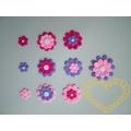 Růžovofialové kytky mix 10 kusů