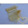 Dárkový sáček organzový zlatý - 13 x 10 cm