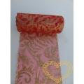 Červená organza se zlatým vzorem s glitrů - šíře 12 cm