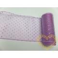 Organza fialová s glitrovými puntíky - šíře 12 cm