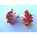 Červené květinové pestíky chomáčky - 72 hlaviček