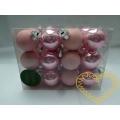 Skleněné závěsné koule světle růžové mix - 24 ks