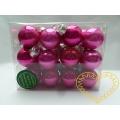 Skleněné závěsné koule růžový mix - 24 ks