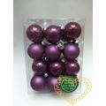 Skleněné závěsné koule fialový mix - 24 ks