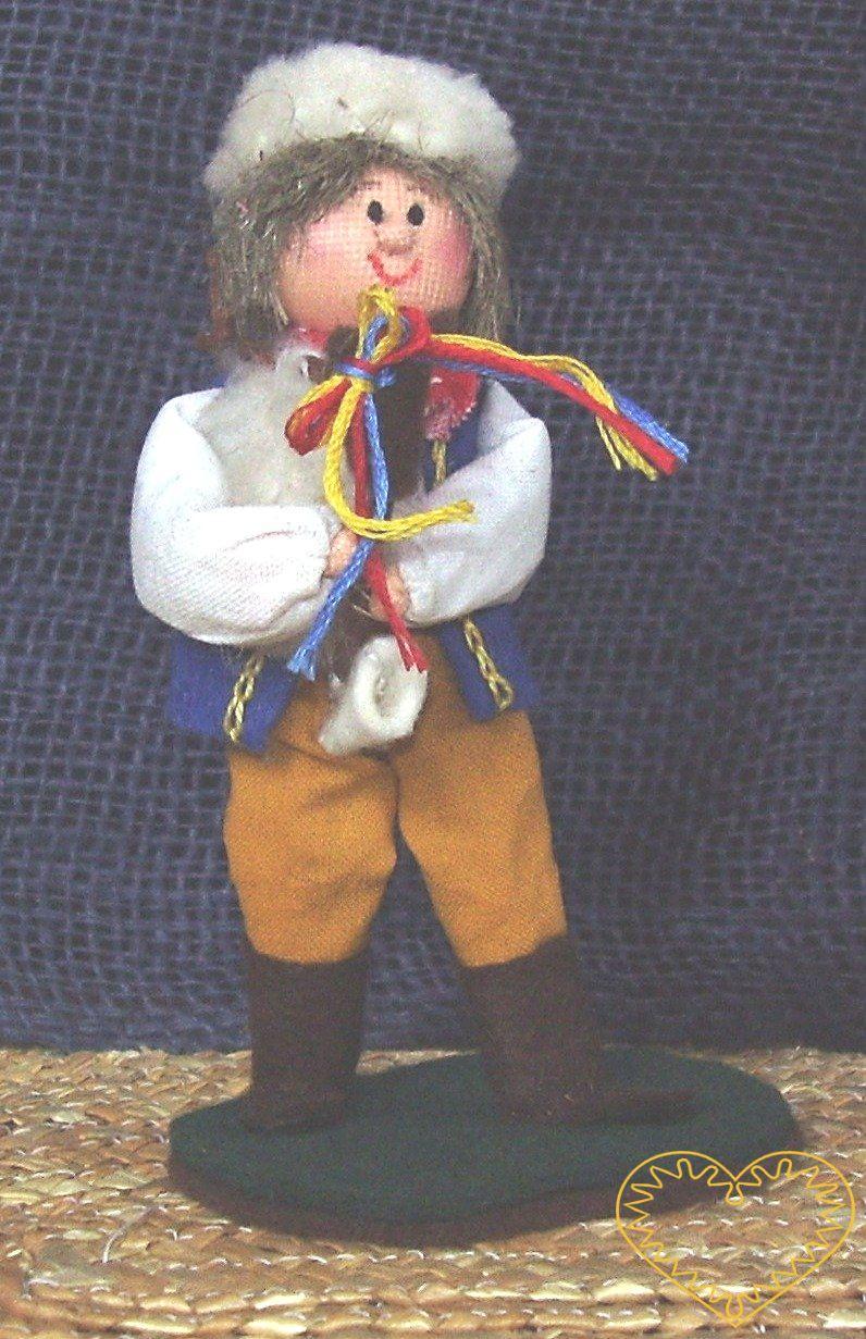 Dudák s dudami - textilní figurka v prácheňském lidovém kroji, vysoká cca 12 cm. Malebný suvenýr čerpající z tradiční lidové kultury.