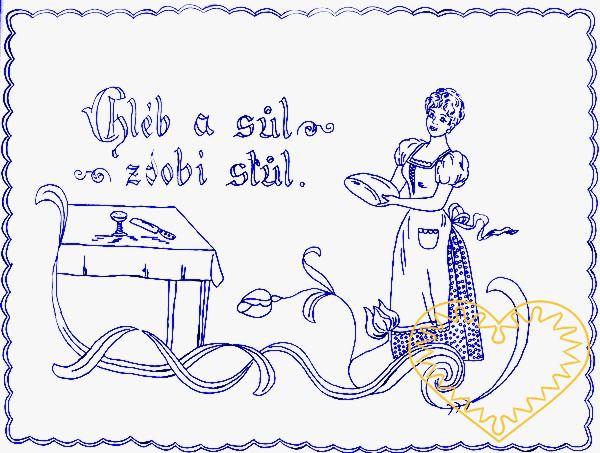 Nástěnná kuchařka - látková předloha vytištěná modře na bílé 100% bavlně pro vyšívání tradiční textilní dekorace. Hodí se hlavně do stylových interiérů. nápis: Chléb a sůl zdobí stůl.